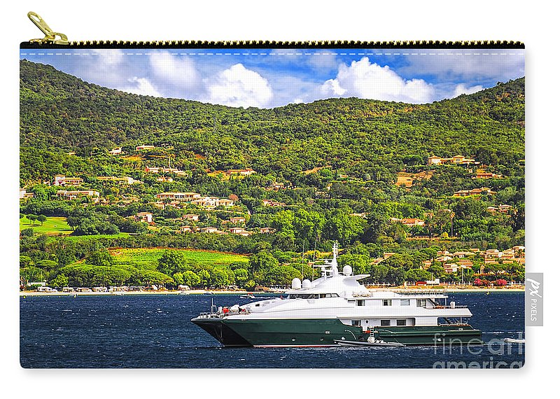 Yacht Carry-all Pouch featuring the photograph Luxury Yacht At The Coast Of French Riviera by Elena Elisseeva