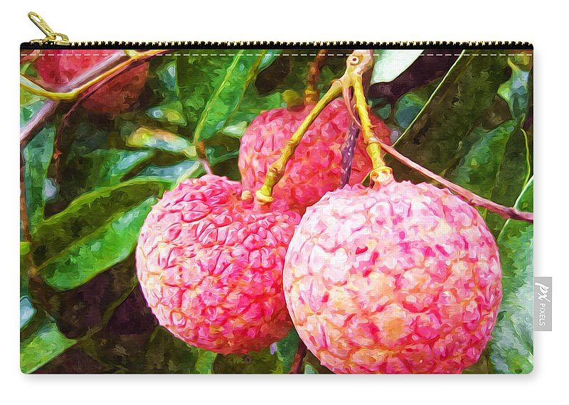 Asia Carry-all Pouch featuring the painting Lychee Fruit by Jeelan Clark