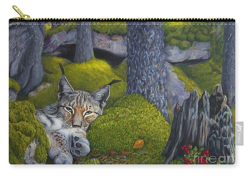 Art Carry-all Pouch featuring the painting Lynx In The Sun by Veikko Suikkanen