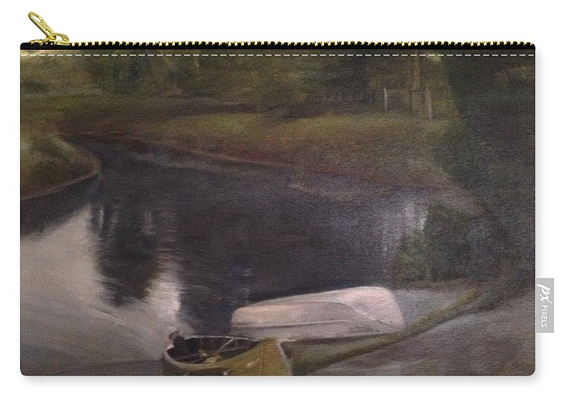 Moose River Carry-all Pouch featuring the painting Lyons Falls - Moose River by Sheila Mashaw