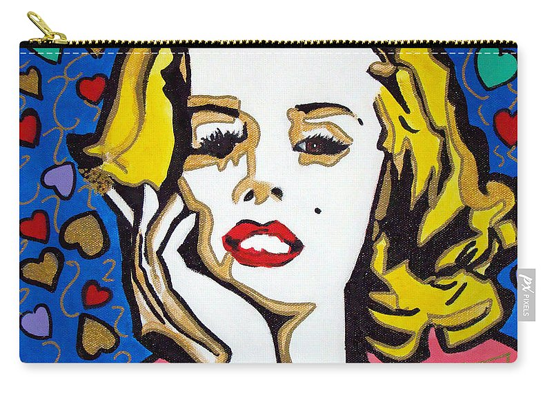Pop-art Carry-all Pouch featuring the painting M M by Silvana Abel