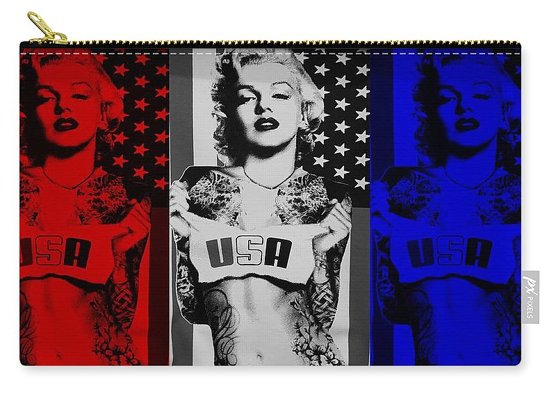 Marilyn Monroe Carry-all Pouch featuring the photograph M M U S A In Red White And Blue by Rob Hans