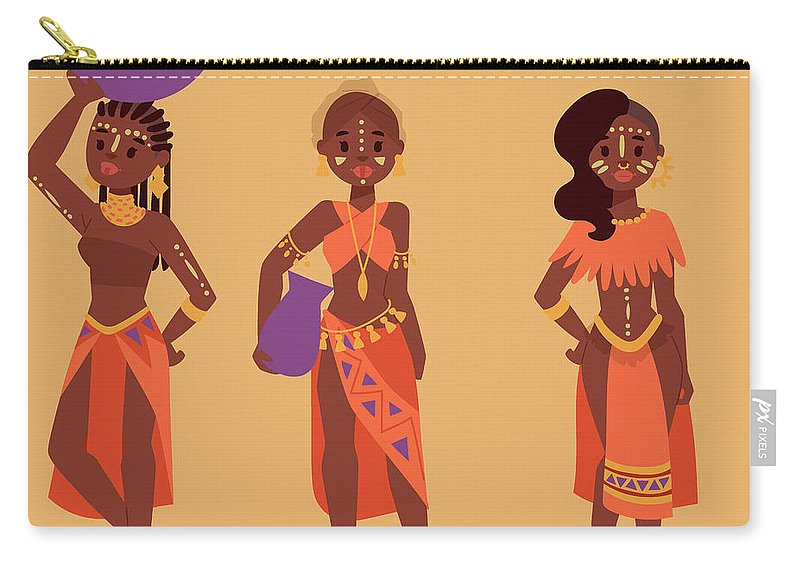 Kenya Carry-all Pouch featuring the digital art Maasai African People In Traditional by Vectormoon