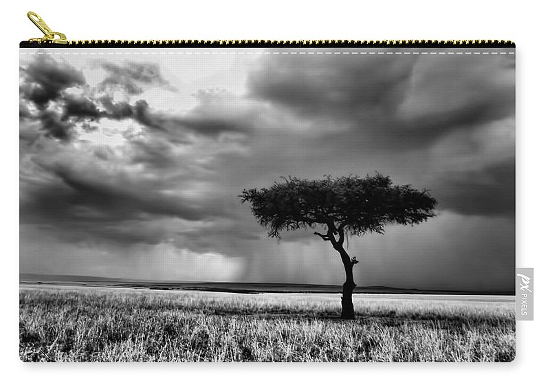 Maasai Mara National Reserve Carry-all Pouch featuring the photograph Maasai Mara In Black And White by Amanda Stadther