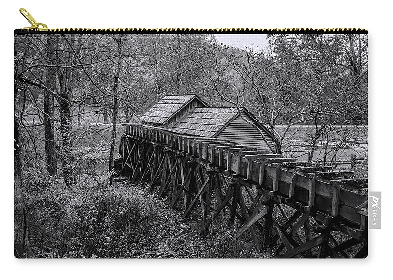 Mabry Mill Carry-all Pouch featuring the photograph Mabry Mill Water Shute In Black And White by Kathy Clark