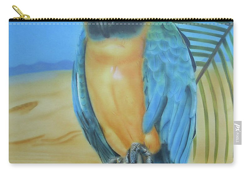 Cockatoo Carry-all Pouch featuring the painting Macaw On A Limb by Thomas J Herring