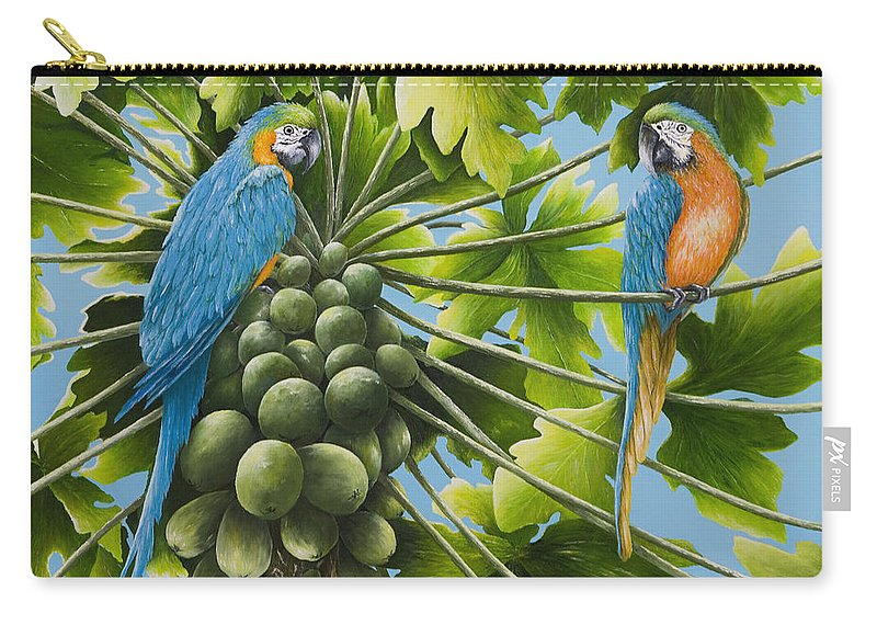 Tropical Paintings Carry-all Pouch featuring the painting Macaw Parrots In Papaya Tree by Mary Ann King