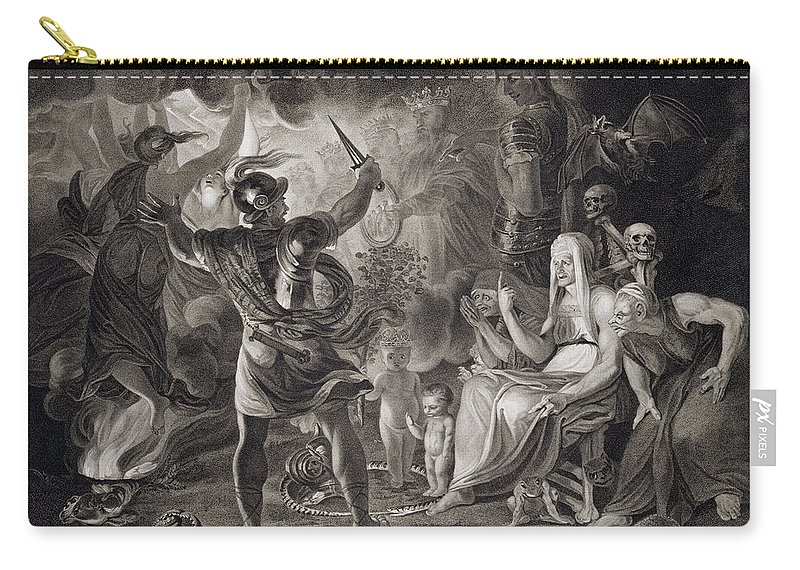 Scottish Play Carry-all Pouch featuring the drawing Macbeth, The Three Witches And Hecate by John & Josiah Boydell