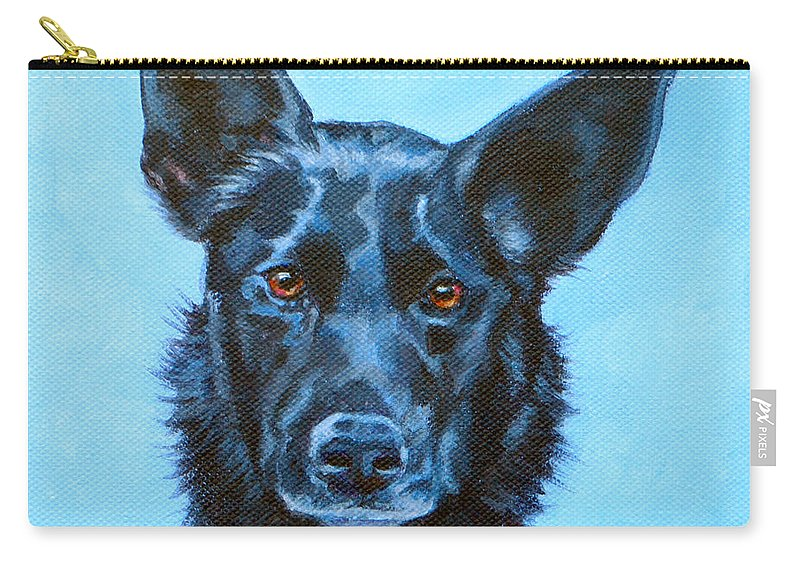 Kelpie Carry-all Pouch featuring the painting Macchiato by Deborah Cullen