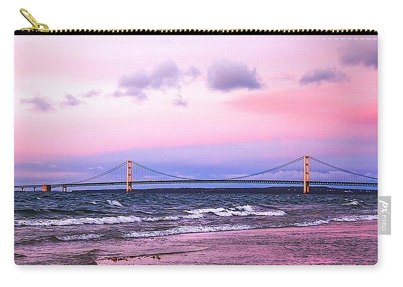Mackinac Carry-all Pouch featuring the photograph Mackinac Bridge At Sunset by LeeAnn McLaneGoetz McLaneGoetzStudioLLCcom