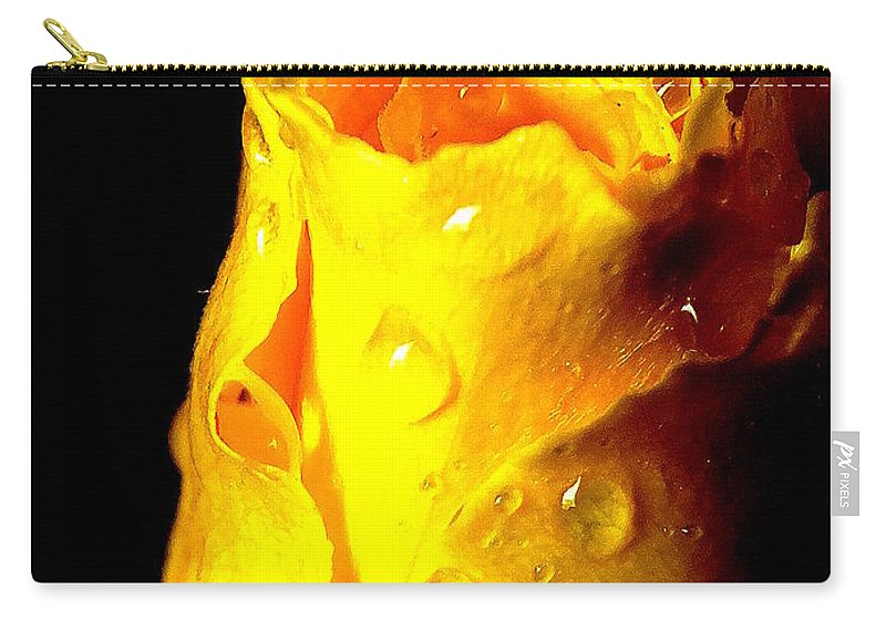 Flower Carry-all Pouch featuring the photograph Macro Yellow Rose 2 by Guy Pettingell