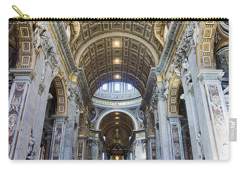 Madernos Nave Ceiling Carry-all Pouch featuring the photograph Maderno's Nave Ceiling by Ellen Henneke