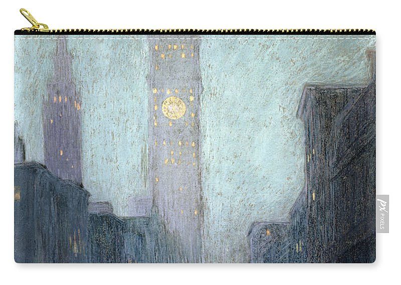 Street Scene Carry-all Pouch featuring the drawing Madison Avenue At Twilight by Lowell Birge Harrison