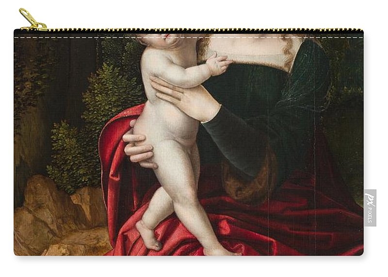 Mary Carry-all Pouch featuring the painting Madonna And Child by Master of the Parrot