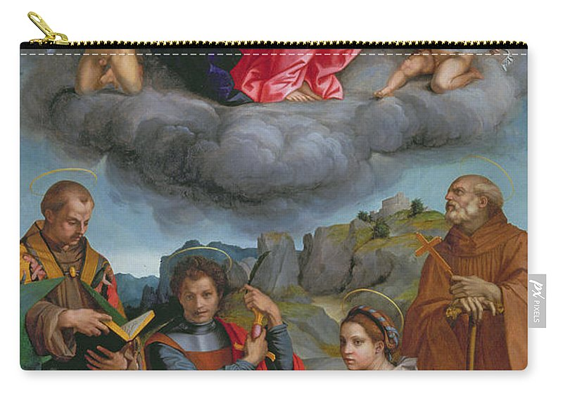 Virgin Carry-all Pouch featuring the painting Madonna In Glory With Four Saints by Andrea del Sarto