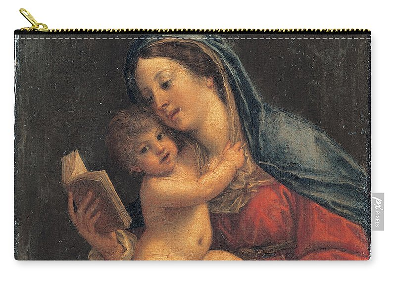 Francesco Albani Carry-all Pouch featuring the painting Madonna With The Child by Francesco Albani
