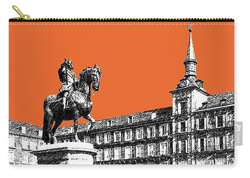 Architecture Carry-all Pouch featuring the digital art Madrid Skyline Plaza Mayor - Coral by DB Artist