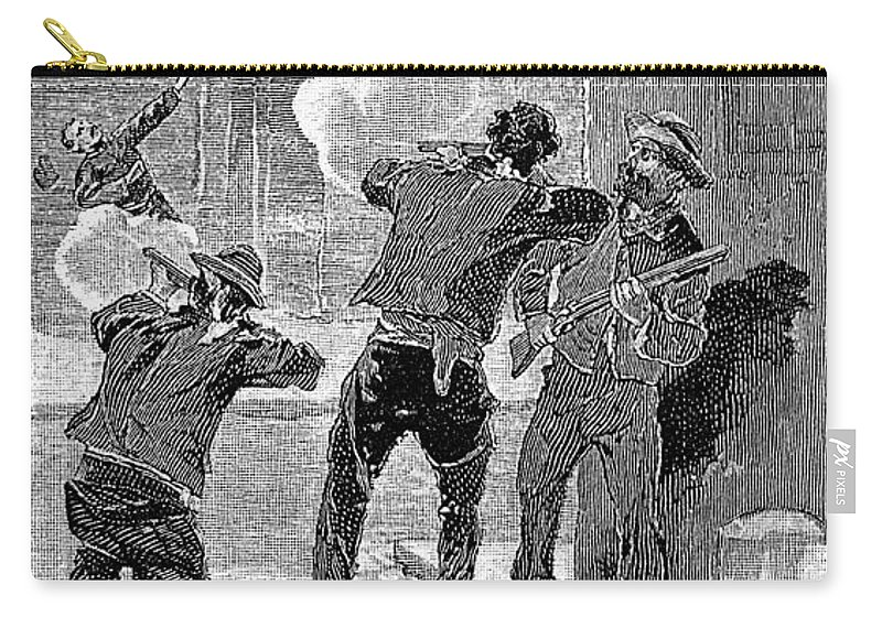 1890 Carry-all Pouch featuring the painting Mafia Killing, 1890 by Granger