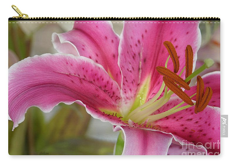 Magenta Tiger Lily Carry-all Pouch featuring the photograph Magenta Tiger Lily by Julianne Felton