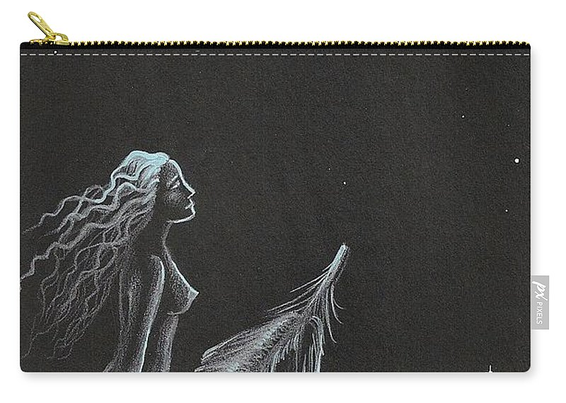Painting Carry-all Pouch featuring the painting Magic Crow Feather by Margaryta Yermolayeva