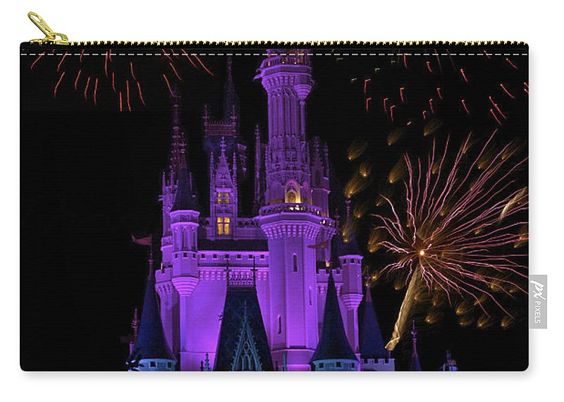 Castle Carry-all Pouch featuring the photograph Magic Kingdom Castle In Purple With Fireworks 02 by Thomas Woolworth