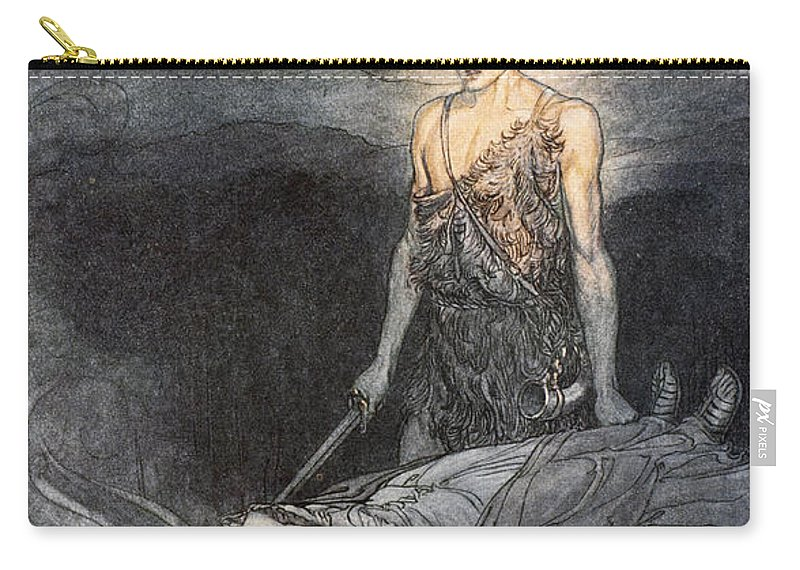 Der Ring Des Nibelungen Carry-all Pouch featuring the drawing Magical Rapture Pierces My Heart; Fixed by Arthur Rackham