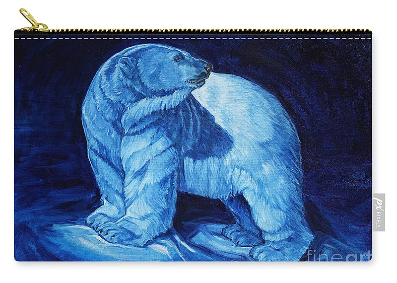 Polar Bear Art Carry-all Pouch featuring the painting Polar Bear Art Blue Prince Lord Of The North by Christine Montague