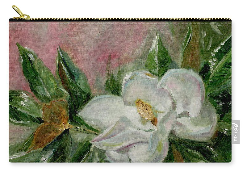 Still Life Carry-all Pouch featuring the painting Magnolia Blossom by Sarah Parks