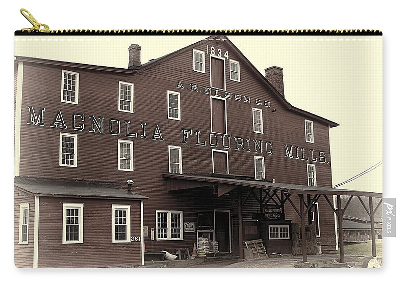 Antique Carry-all Pouch featuring the photograph Magnolia Flouring Mill by Jack R Perry
