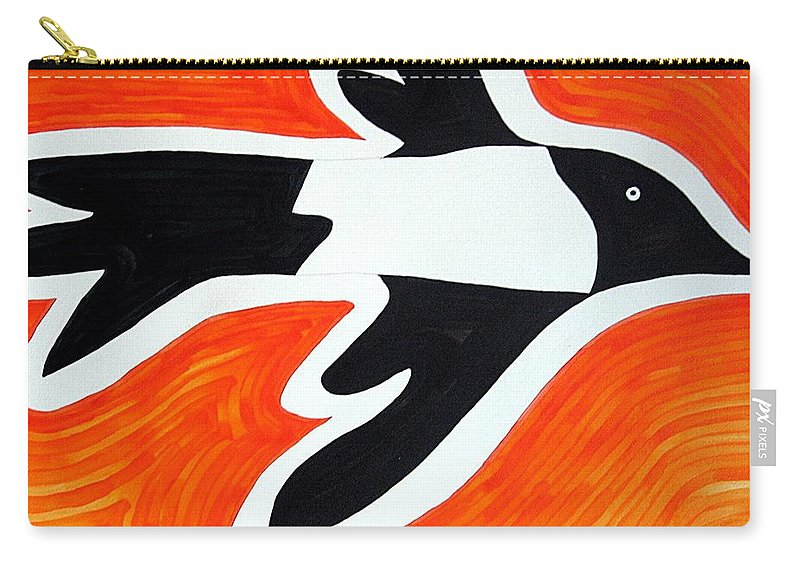 Magpie Carry-all Pouch featuring the painting Magpie Original Painting Sold by Sol Luckman