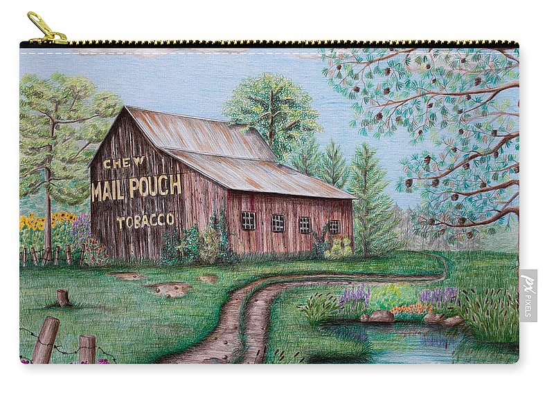 Mail Pouch Carry-all Pouch featuring the drawing Mail Pouch Tobacco Barn by Lena Auxier
