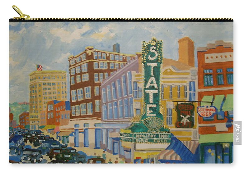 Sioux Falls Carry-all Pouch featuring the painting Main Street by Rodger Ellingson