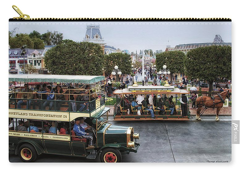 Disney Carry-all Pouch featuring the photograph Main Street Transportation Disneyland by Thomas Woolworth