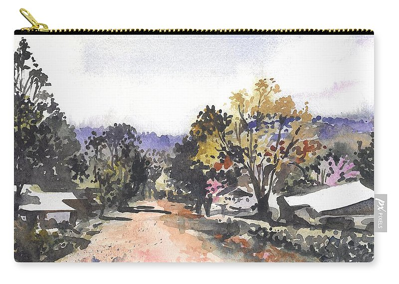 Ukarumpa Carry-all Pouch featuring the painting Main Street Ukarumpa by Sarah Kovin Snyder