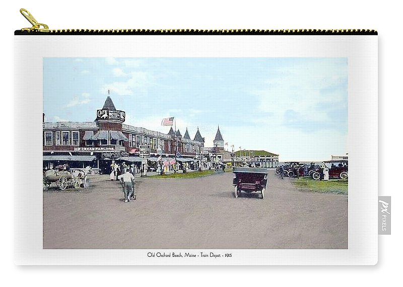 Street Scene Carry-all Pouch featuring the digital art Maine - Old Orchard Beach Train Depot - 1910 by John Madison