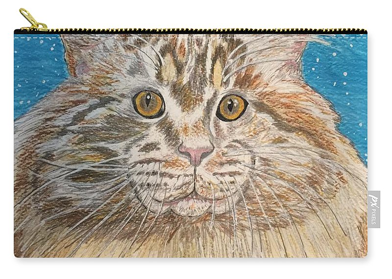 Maine Carry-all Pouch featuring the painting Maine Coon Cat by Kathy Marrs Chandler