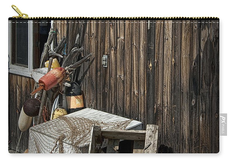 Art Carry-all Pouch featuring the photograph Maine Fishing Buoys And Nets by Randall Nyhof
