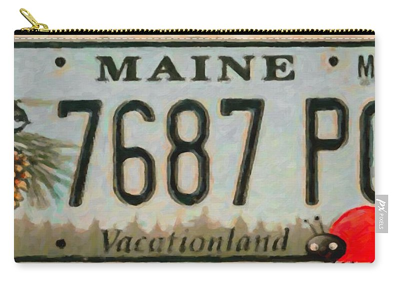 Maine License Plate.bug Carry-all Pouch featuring the painting Maine License Plate by Jeelan Clark