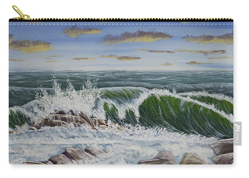 Storm Carry-all Pouch featuring the painting Crashing Waves At Pemaquid Point Maine by Keith Webber Jr