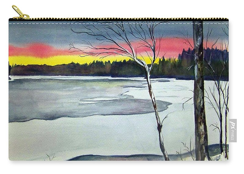 Landscape Carry-all Pouch featuring the painting Maine Winter Sunset by Brenda Owen