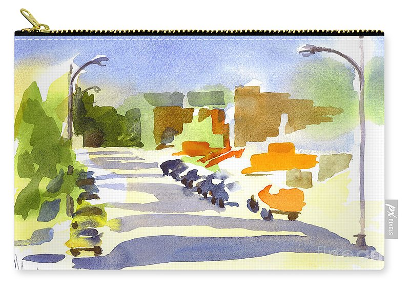 Main Street In Evening Shadows Carry-all Pouch featuring the painting Main Street In Evening Shadows by Kip DeVore