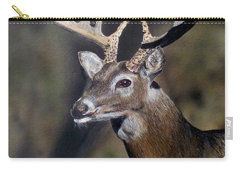 Wildlife Carry-all Pouch featuring the painting Majestic Buck by Todd Spaur