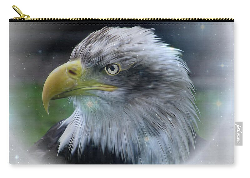 Bald Eagle Carry-all Pouch featuring the photograph Majestic Eagle Of The Usa - Featured In Feathers And Beaks-comfortable Art And Nature Groups by Ericamaxine Price