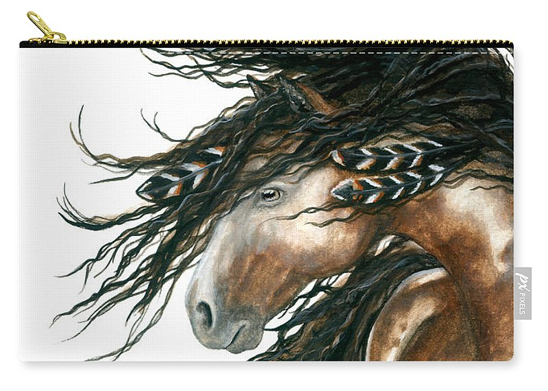 Horse Carry-all Pouch featuring the painting Majestic Pinto Horse 80 by AmyLyn Bihrle