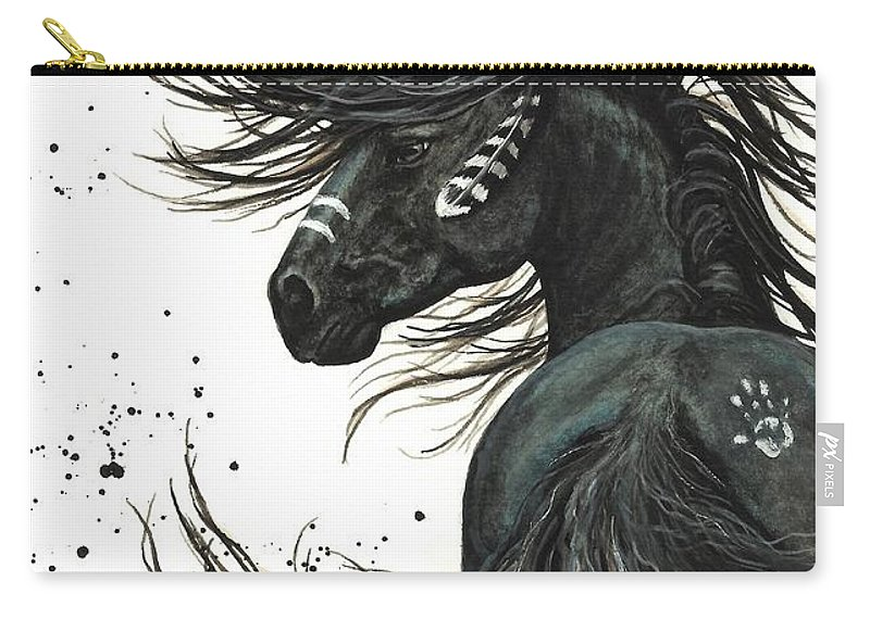 Mm65 Carry-all Pouch featuring the painting Majestic Spirit Horse by AmyLyn Bihrle