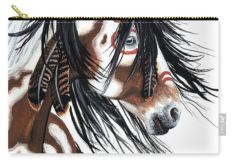 Horse Artwork Carry-all Pouch featuring the painting Majestic Pinto horse by AmyLyn Bihrle