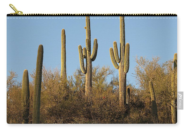 Saguaro Carry-all Pouch featuring the photograph Majestic Saguaros by Laurel Powell