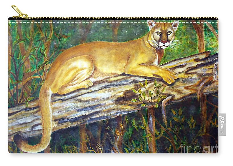 Florida Panther Carry-all Pouch featuring the painting Majestic by To-Tam Gerwe