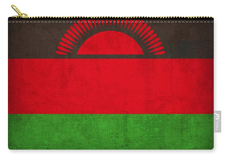 Malawi Carry-all Pouch featuring the mixed media Malawi Flag Vintage Distressed Finish by Design Turnpike
