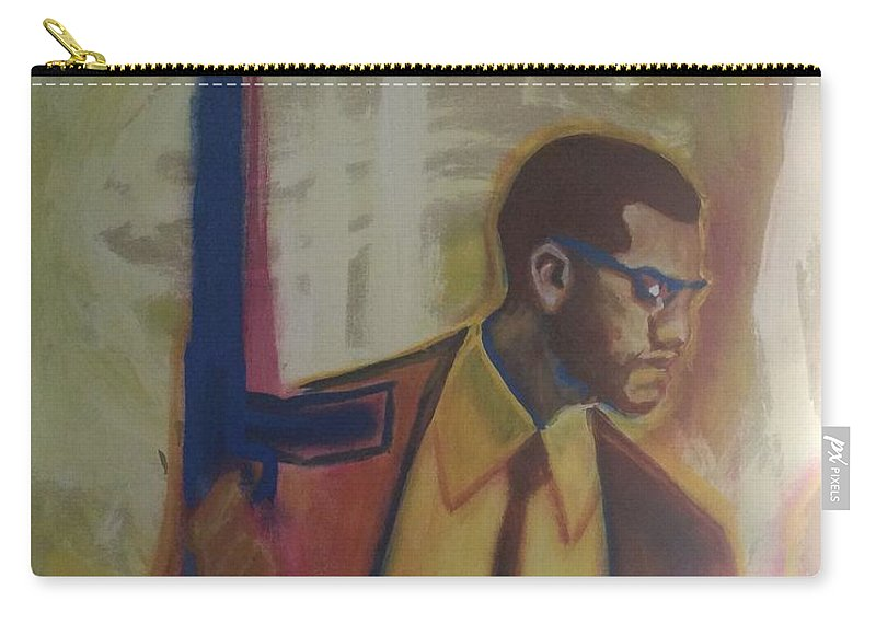 Protection Carry-all Pouch featuring the painting Necessary Means Of Malcolm X by Mannaah Blackwell